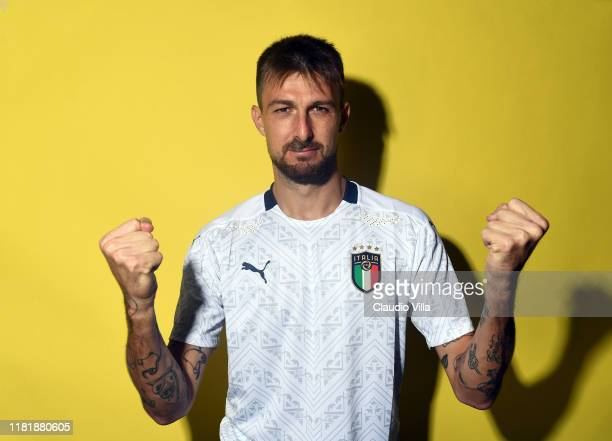 Francesco Acerbi of Italy poses during the official portrait session at Centro Tecnico Federale di Coverciano on November 11 2019 in Florence Italy
