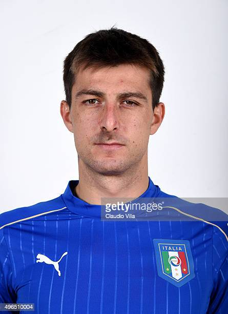 Francesco Acerbi of Italy poses during the official portrait session at Coverciano on November 10 2015 in Florence Italy