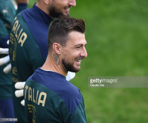 Francesco Acerbi of Italy smiles during a Italy training session at Centro Tecnico Federale di Coverciano on October 9 2019 in Florence Italy