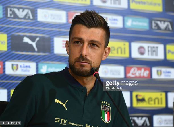 Francesco Acerbi of Italy speaks with the media during a press conference at Centro Tecnico Federale di Coverciano on October 9 2019 in Florence Italy