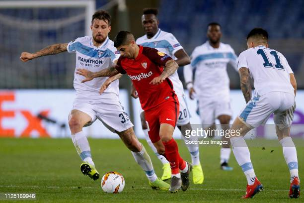 Francesco Acerbi of Lazio Roma Ever Banega of Sevilla FC during the UEFA Europa League match between Lazio v Sevilla at the Stadio Olimpico Rome on...