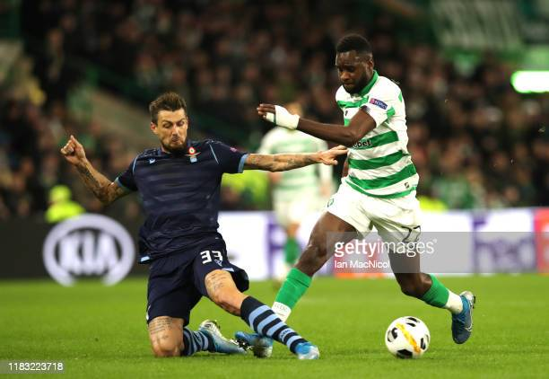 Francesco Acerbi of Lazio tackles Odsonne Edouard of Celtic during the UEFA Europa League group E match between Celtic FC and Lazio Roma at Celtic...