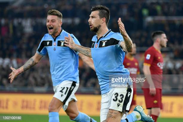 Francesco Acerbi of SS Lazio celebrate a frist goal with his team matesduring the Serie A match between AS Roma and SS Lazio at Stadio Olimpico on...