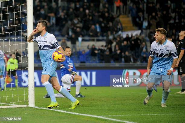 Francesco Acerbi of SS Lazio celebrates a first goal during the Serie A match between SS Lazio and UC Sampdoria at Stadio Olimpico on December 8 2018...