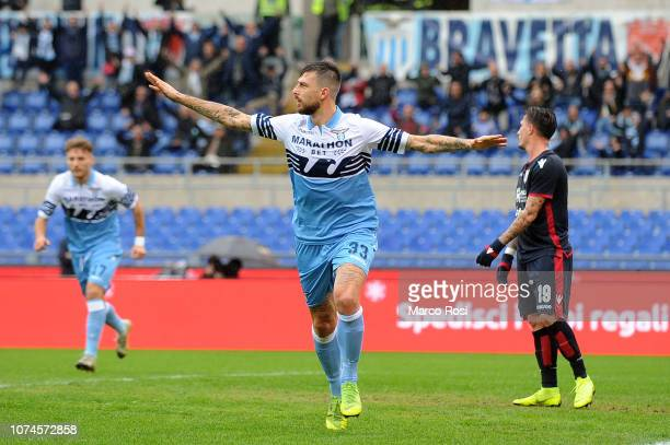 Francesco Acerbi of SS Lazio celebrates a second goal with his team mates during the Serie A match between SS Lazio and Cagliari at Stadio Olimpico...