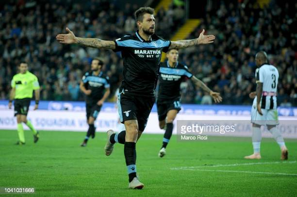 Francesco Acerbi of SS Lazio celebrates the opening goal during the serie A match between Udinese and SS Lazio at Stadio Friuli on September 26 2018...