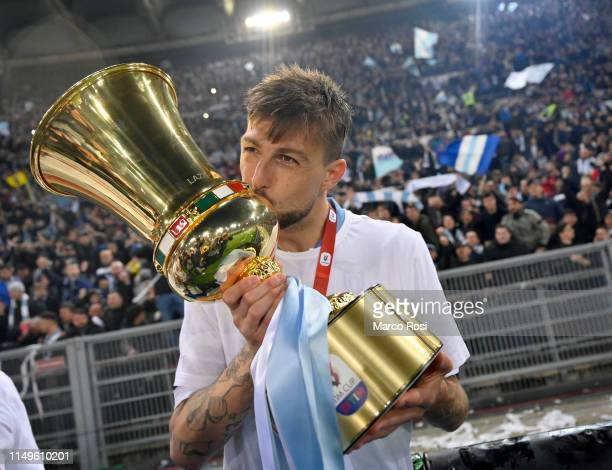 Francesco Acerbi of SS Lazio celebrates victory after the TIM Cup Final match between Atalanta BC and SS Lazio at Stadio Olimpico on May 15 2019 in...