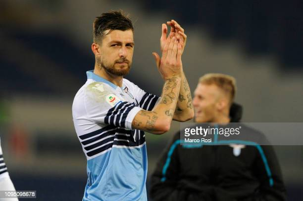 Francesco Acerbi of SS lazio celebrates winning the Serie A match between SS Lazio and Empoli at Stadio Olimpico on February 7 2019 in Rome Italy