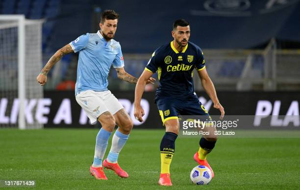 Francesco Acerbi of SS Lazio competes for the ball with Graziano Pellè of Parma Calcio during the Serie A match between SS Lazio and Parma Calcio at...