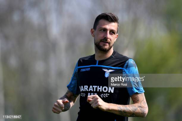 Francesco Acerbi of SS Lazio during the SS Lazio training session at on April 1 2019 in Milan Italy