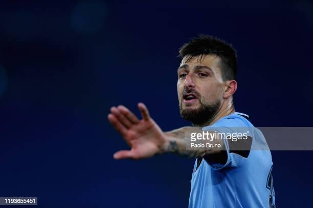 Francesco Acerbi of SS Lazio gestures during the Coppa Italia match between SS Lazio and US Cremonese at Olimpico Stadium on January 14 2020 in Rome...