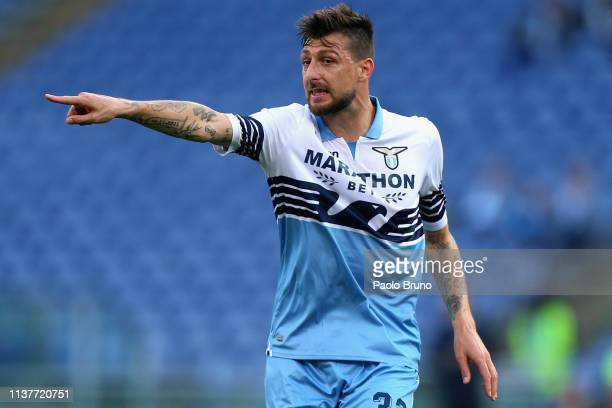 Francesco Acerbi of SS Lazio gestures during the Serie A match between SS Lazio and Udinese at Stadio Olimpico on April 17 2019 in Rome Italy