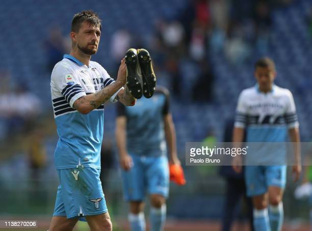 Francesco Acerbi of SS Lazio greets the fans during the Serie A match between SS Lazio and Chievo at Stadio Olimpico on April 20 2019 in Rome Italy