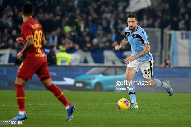 Francesco Acerbi of SS Lazio in action during the Serie A match between AS Roma and SS Lazio at Stadio Olimpico on January 26, 2020 in Rome, Italy.