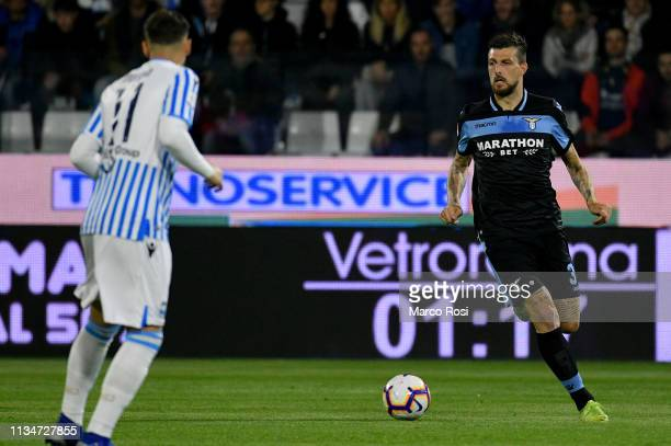 Francesco Acerbi of SS Lazio in action during the Serie A match between SPAL and SS Lazio at Stadio Paolo Mazza on April 3 2019 in Ferrara Italy