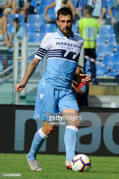 Francesco Acerbi of SS Lazio in action during the Serie A match between SS Lazio and Genoa CFC at Stadio Olimpico on September 23 2018 in Rome Italy