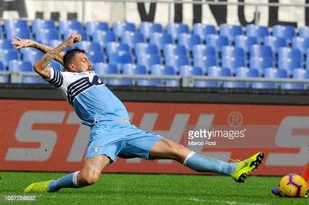 Francesco Acerbi of SS Lazio in action during the Serie A match between SS Lazio and SPAL at Stadio Olimpico on November 4 2018 in Rome Italy