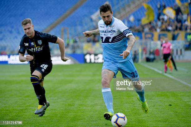 Francesco Acerbi of SS Lazio in action during the Serie A match between SS Lazio and Parma Calcio at Stadio Olimpico on March 17 2019 in Rome Italy