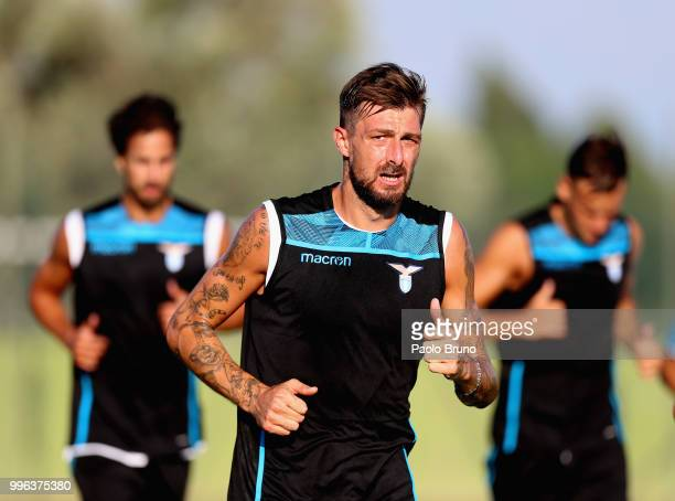 Francesco Acerbi of SS Lazio in action during the SS Lazio training session on July 11 2018 in Rome Italy