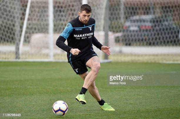 Francesco Acerbi of SS Lazio kicks the ball during the SS Lazio training session at Formello Training Center on March 1 2019 in Rome Italy