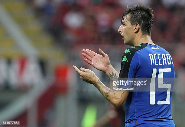 Francesco Acerbi of US Sassuolo Calcio gestures during the Serie A match between AC Milan and US Sassuolo at Stadio Giuseppe Meazza on October 2 2016...