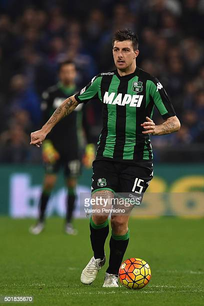 Francesco Acerbi of US Sassuolo Calcio in action during the Serie A match between UC Sampdoria and US Sassuolo Calcio at Stadio Luigi Ferraris on...