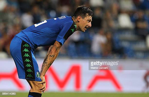 Francesco Acerbi of US Sassuolo Calcio looks on during the TIM Preseason Tournament at Mapei Stadium Citta' del Tricolore on August 10 2016 in Reggio...