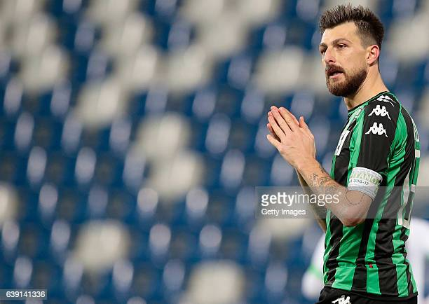 Francesco Acerbi of US Sassuolo Calcio reacts during the TIM Cup match between US Sassuolo and AC Cesena at Mapei Stadium Citta' del Tricolore on...