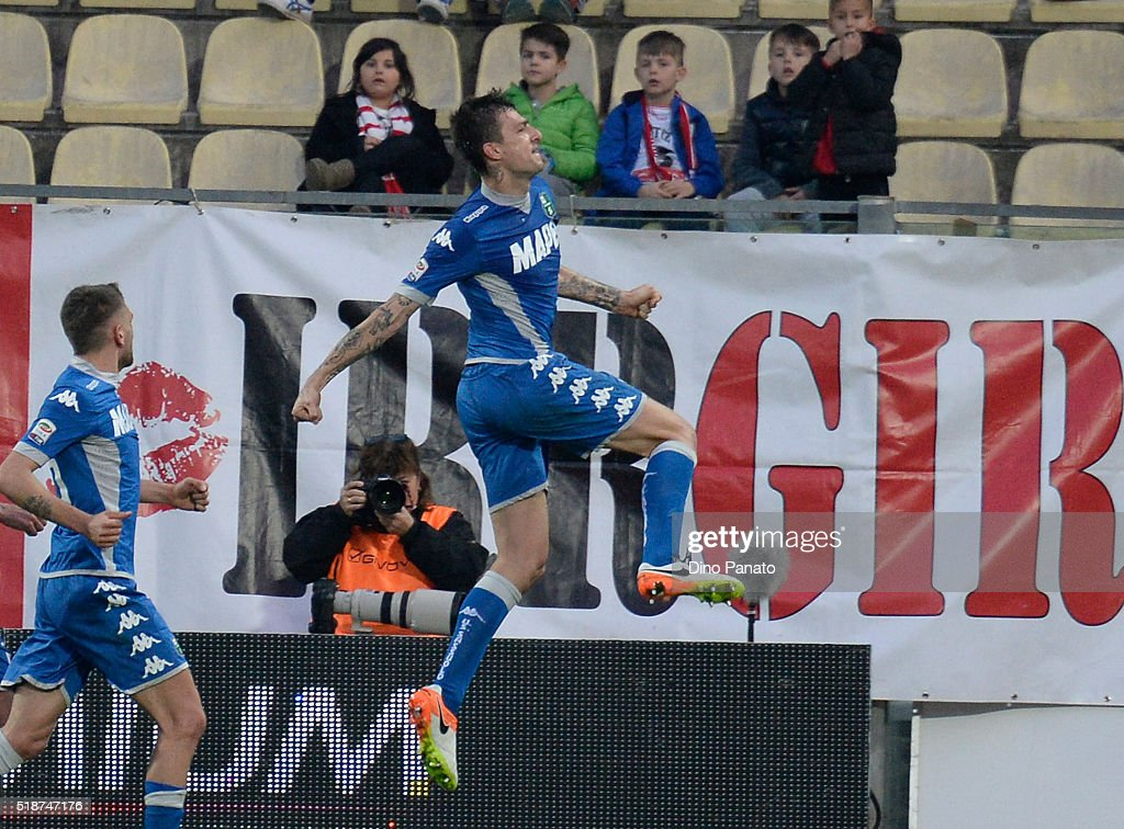 Francesco Acerbi (R) of US Sassuolo celebrates after scoring his team's third goal during the Serie A match between Carpi FC and US Sassuolo Calcio at Alberto Braglia Stadium on April 2, 2016 in Modena, Italy.