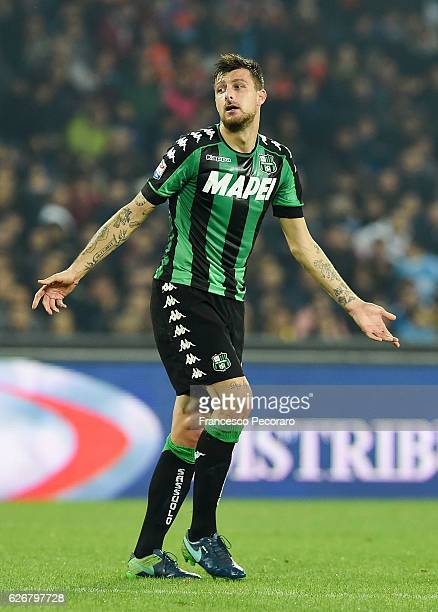 Francesco Acerbi of US Sassuolo in action during the Serie A match between SSC Napoli and US Sassuolo November 28 2016 in Naples Italy