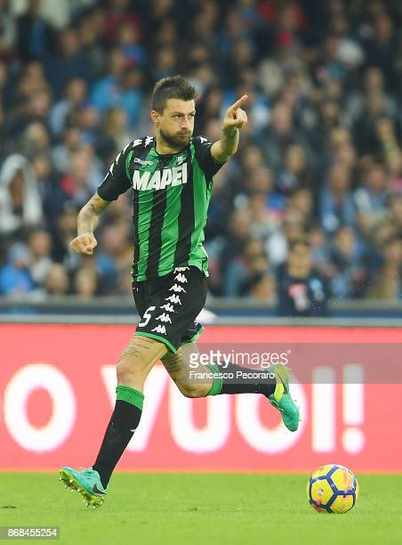 Francesco Acerbi of US Sassuolo in action during the Serie A match between SSC Napoli and US Sassuolo at Stadio San Paolo on October 29 2017 in...