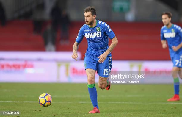 Francesco Acerbi of US Sassuolo in action during the Serie A match between Benevento Calcio and US Sassuolo at Stadio Ciro Vigorito on November 19...
