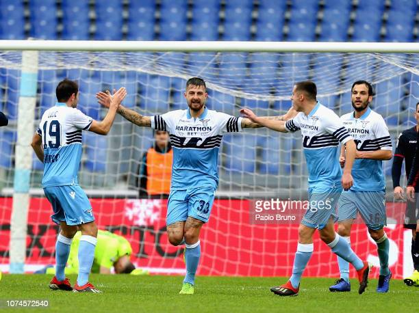 Francesco Acerbi with his teammates of SS Lazio celebrates after scoring the team's second goal during the Serie A match between SS Lazio and...
