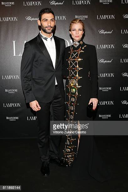 Francesco Arca and Roberta Ruiu in Fausto Puglisi attends #THE ROYAL PUNK Party By Lampoon on February 23 2016 in Milan Italy