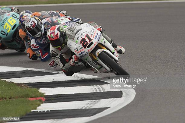 Francesco Bagnaia of Italy and Aspar Team Moto3 leads the field during the Moto3 race during the MotoGp Of Great Britain Race at Silverstone Circuit...