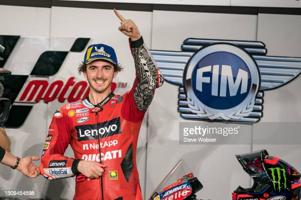 Francesco Bagnaia of Italy and Ducati Lenovo Team with his first MotoGP pole position at parc ferme during qualifying session at Losail Circuit on...