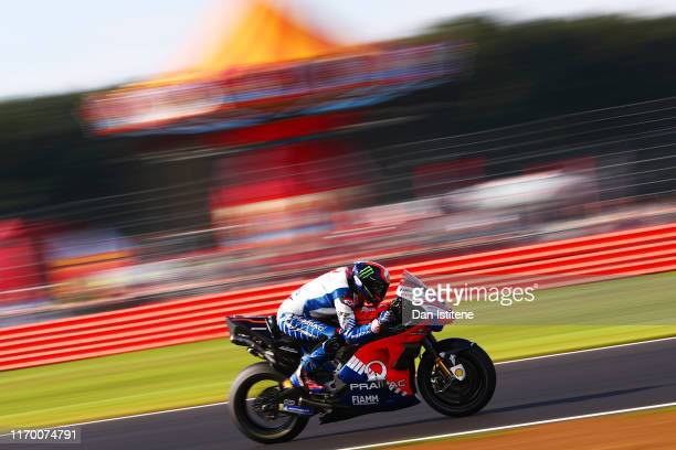 Francesco Bagnaia of Italy and Pramac Racing rides during warm-up ahead of the MotoGP of Great Britain at Silverstone Circuit on August 25, 2019 in...