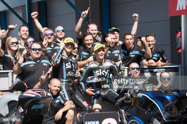 Francesco Bagnaia of Italy and Sky Racing Team VR46 and Luca Marini of Italy and Sky Racing Team VR46 celebrate with team at the end of the Moto2...