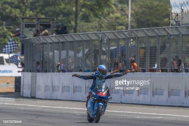 Francesco Bagnaia of Italy and Sky Racing Team VR46 celebrates the victory during the Moto2 race during the MotoGP Of Thailand Race on October 7 2018...