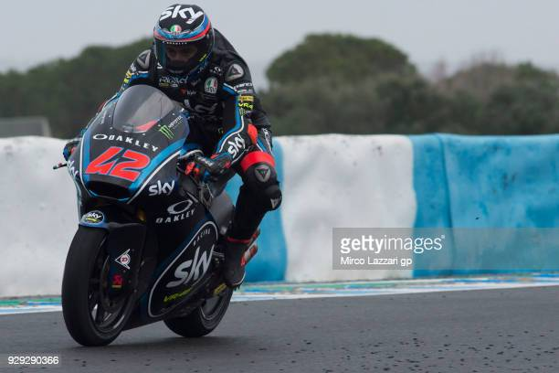 Francesco Bagnaia of Italy and Sky Racing Team VR46 heads down a straight during the Moto2 Moto3 Tests In Jerez at Circuito de Jerez on March 8 2018...