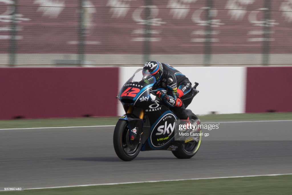 Francesco Bagnaia of Italy and Sky Racing Team VR46 heads down a straight during the MotoGP of Qatar - Free Practice at Losail Circuit on March 16, 2018 in Doha, Qatar.