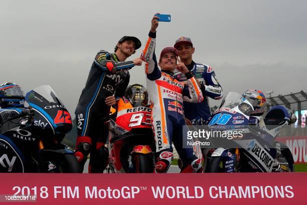 Francesco Bagnaia of Italy and Sky Racing Team Vr46 Kalex Marc Marquez of Spain and Repsol Honda Team and Jorge Martin of Spain and Del Conca Gresini...