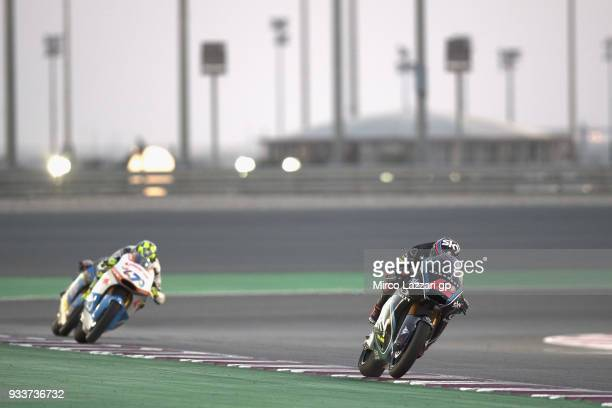 Francesco Bagnaia of Italy and Sky Racing Team VR46 leads the field during the Moto2 race during the MotoGP of Qatar Race at Losail Circuit on March...