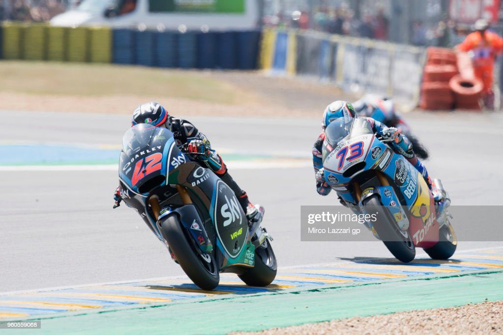Francesco Bagnaia of Italy and Sky Racing Team VR46 leads the field during the MotoGP race during the MotoGp of France - Race on May 20, 2018 in Le Mans, France.