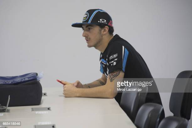 Francesco Bagnaia of Italy and Sky Racing Team VR46 looks on in media center during the MotoGp of Argentina Previews on April 6 2017 in Rio Hondo...