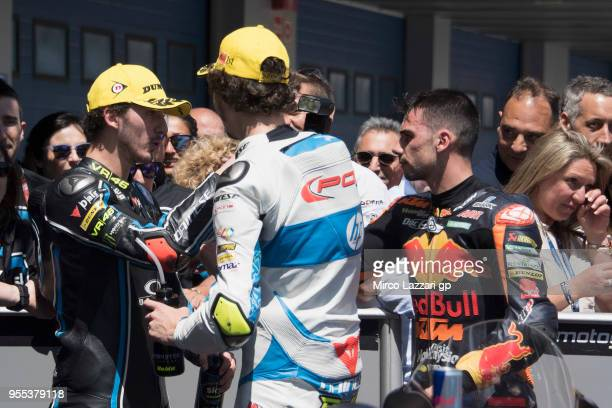 Francesco Bagnaia of Italy and Sky Racing Team VR46 Lorenzo Balbassarri of Italy and Pons HP40 and Miguel Oliveira of Portugal and Red Bull KTM Ajo...