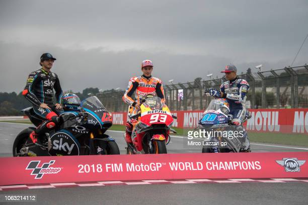 Francesco Bagnaia of Italy and Sky Racing Team VR46 Marc Marquez of Spain and Repsol Honda Team and Jorge Martin of Spain and Del Conca Gresini Moto3...