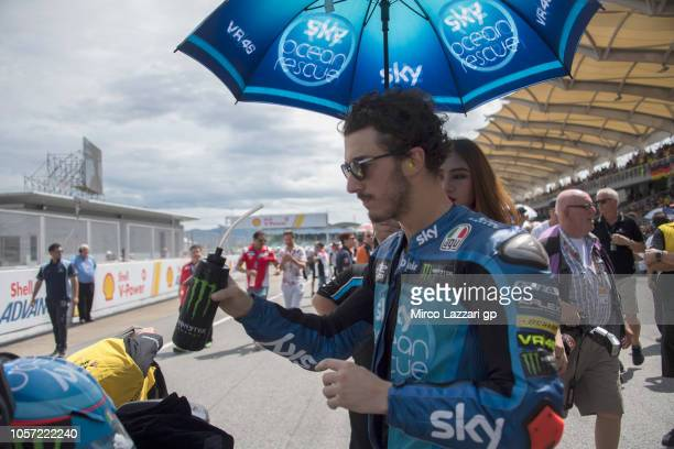 Francesco Bagnaia of Italy and Sky Racing Team VR46 prepares to start on the grid during the Moto2 race during the MotoGP Of Malaysia Race at Sepang...