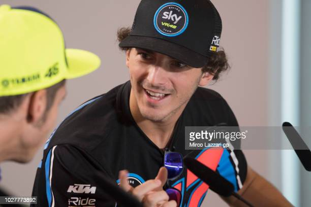Francesco Bagnaia of Italy and Sky Racing Team VR46 speaks during the press conference preevent during the MotoGP of San Marino Previews at Misano...