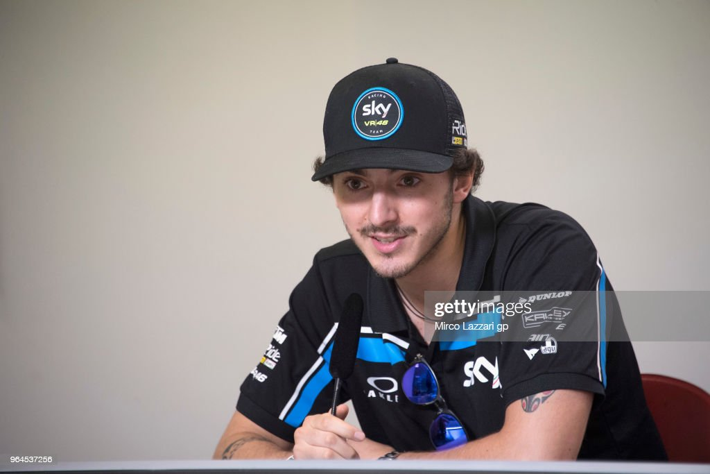 Francesco Bagnaia of Italy and Sky Racing Team VR46 speaks during the press conference pre-event during the MotoGp of Italy - Previews at Mugello Circuit on May 31, 2018 in Scarperia, Italy.